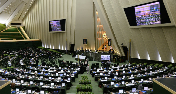 The assembly hall of the Iranian Parliament (the Islamic Consultative Assembly - Majlis) in Tehran