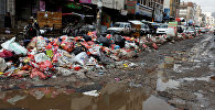 Rubbish bags pile up on a street during a strike by garbage collectors demanding delayed salaries in Sanaa, Yemen May 8, 2017